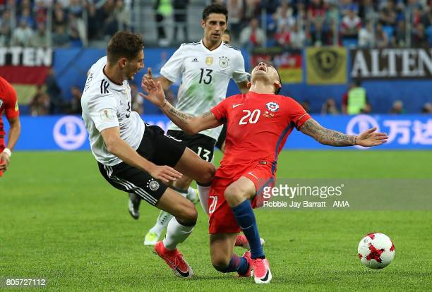 Leon Goretzka of Germany challenges Charles Aranguiz of Chile during the FIFA Confederations Cup Russia 2017 Final match between Chile and Germany at...