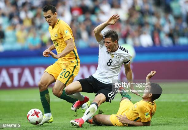 Leon Goretzka of Germany is fouled by Trent Sainsbury of Australia and a penalty is awarded to Germany during the FIFA Confederations Cup Russia 2017...