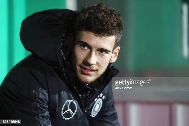 Leon Goretzka of Germany looks on prior to the international friendly match between U21 Germany and U21 England at BRITAArena on March 24 2017 in...