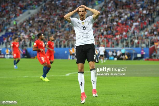 Leon Goretzka of Germany reacts during the FIFA Confederations Cup Russia 2017 Final between Chile and Germany at Saint Petersburg Stadium on July 2...