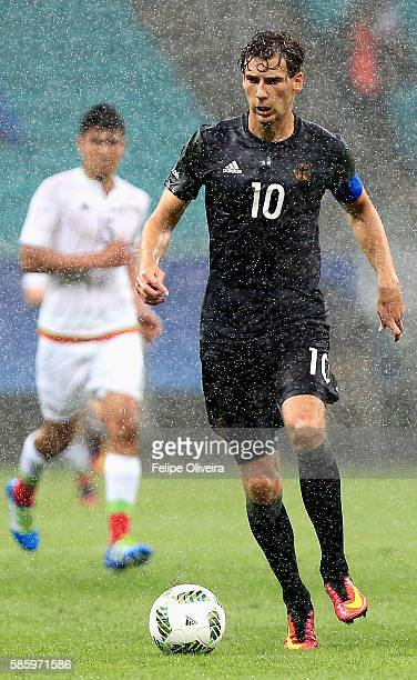 Leon Goretzka of Germany runs with the ball during the Men's Group C first round match between Mexico and Germany during the Rio 2016 Olympic Games...