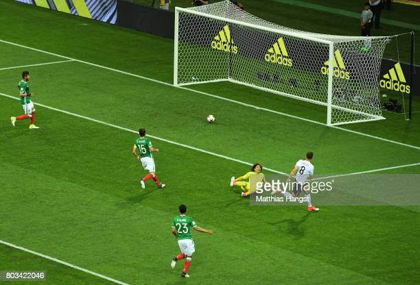 Leon Goretzka of Germany scores his side's second goal during the FIFA Confederations Cup Russia 2017 SemiFinal between Germany and Mexico at Fisht...