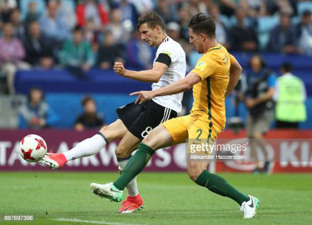 Leon Goretzka of Germany scores his sides third goal during the FIFA Confederations Cup Russia 2017 Group B match between Australia and Germany at...