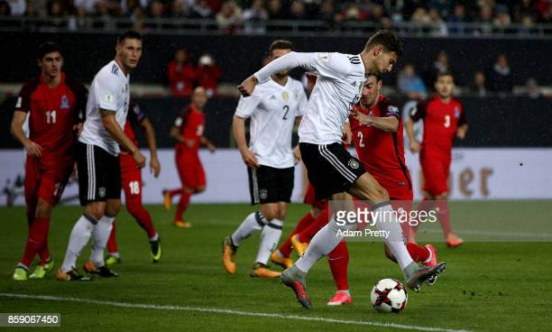 Leon Goretzka of Germany scores the opening goal during the FIFA 2018 World Cup Qualifier between Germany and Azerbaijan at FritzWalterStadion on...