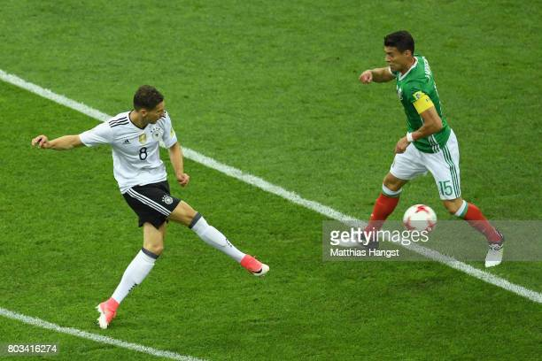 Leon Goretzka of Germany scores the opening goal during the FIFA Confederations Cup Russia 2017 SemiFinal between Germany and Mexico at Fisht Olympic...