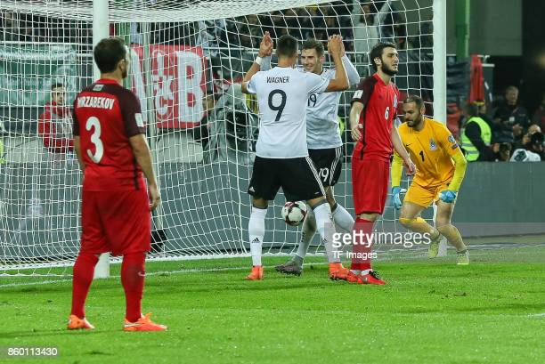 Leon Goretzka of Germany v celebrates after scoring his team`s goal during the FIFA 2018 World Cup Qualifier between Germany and Azerbaijan at...