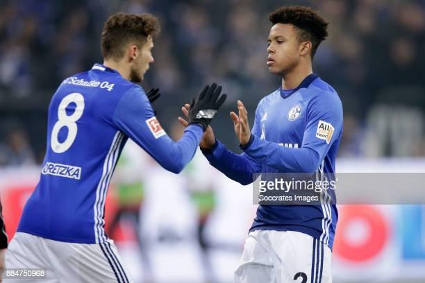 Leon Goretzka of Schalke 04 Weston Mckennie of Schalke 04 during the German Bundesliga match between Schalke 04 v 1 FC Koln at the Veltins Arena on...