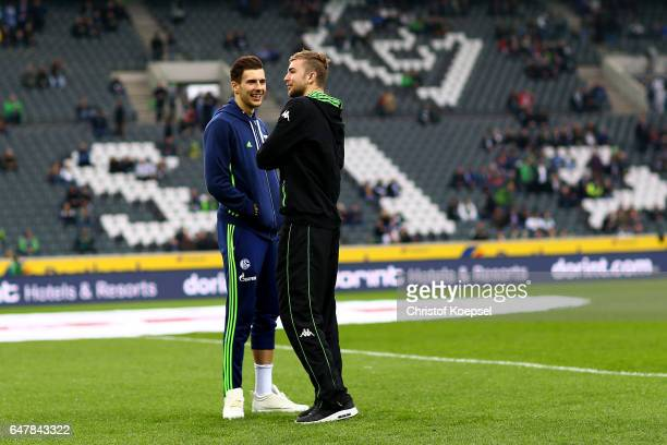 Leon Goretzka of Schalke and Christoph Kramer of Moenchengladbach look on prior to the Bundesliga match between Borussia Moenchengladbach and FC...