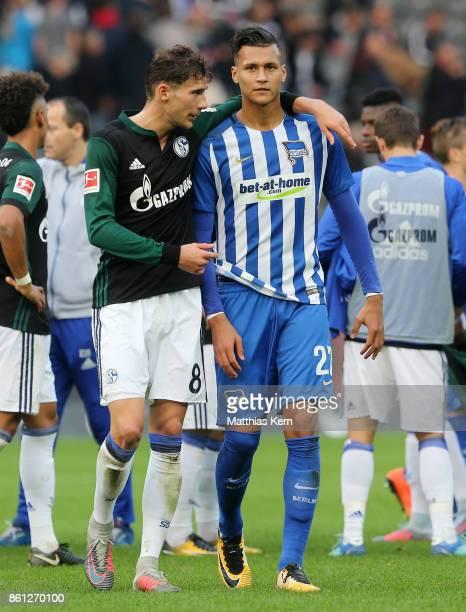 Leon Goretzka of Schalke and Davie Selke of Berlin look on after the Bundesliga match between Hertha BSC and FC Schalke 04 at Olympiastadion on...