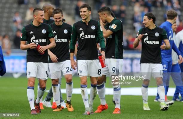 Leon Goretzka of Schalke and his team mates show their delight after winning the Bundesliga match between Hertha BSC and FC Schalke 04 at...