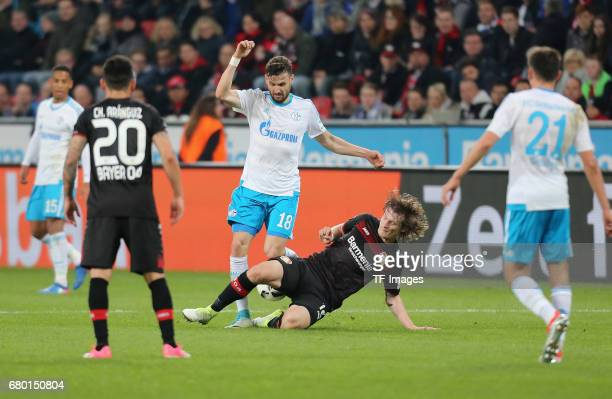 Leon Goretzka of Schalke and Tin Jedvaj of Leverkusen battle for the ball during to the Bundesliga match between Bayer 04 Leverkusen and FC Schalke...