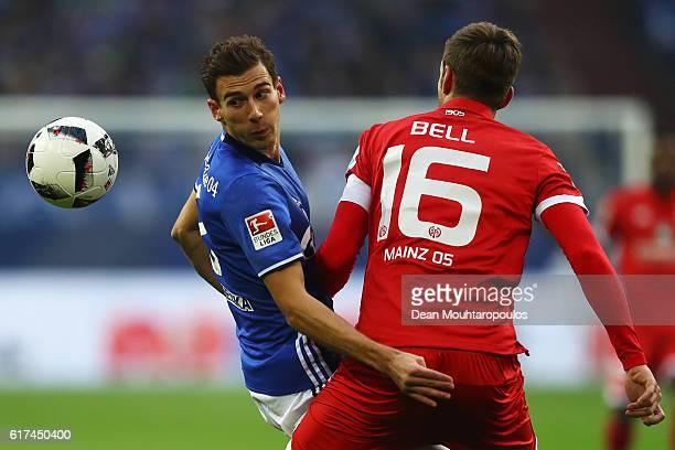 Leon Goretzka of Schalke battles for the ball with Stefan Bell of FSV Mainz 05 during the Bundesliga match between FC Schalke 04 and 1 FSV Mainz 05...
