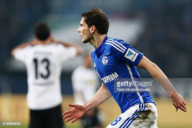 Leon Goretzka of Schalke celebrates scoring his teams second goal of the game during the Bundesliga match between FC Schalke 04 and Borussia...
