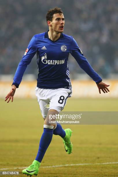 Leon Goretzka of Schalke celebrates scoring his teams second goal of the game during the Bundesliga match between FC Schalke 04 and Hertha Berliner...