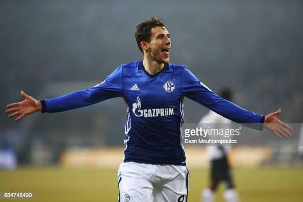 Leon Goretzka of Schalke celebrates scoring his teams second goal of the game during the Bundesliga match between FC Schalke 04 and Hertha Berliner...