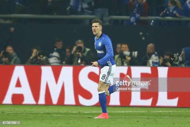 Leon Goretzka of Schalke celebrates the first goal during the UEFA Europa League quarter final second leg match between FC Schalke 04 and Ajax...