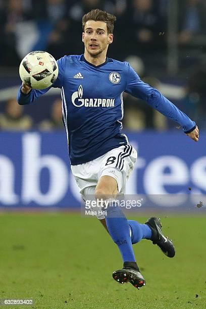 Leon Goretzka of Schalke controls the ball during the Bundesliga match between FC Schalke 04 and Eintracht Frankfurt at VeltinsArena on January 27...