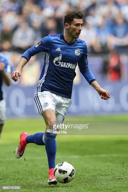 Leon Goretzka of Schalke controls the ball during the Bundesliga match between FC Schalke 04 and VfL Wolfsburg at VeltinsArena on April 8 2017 in...