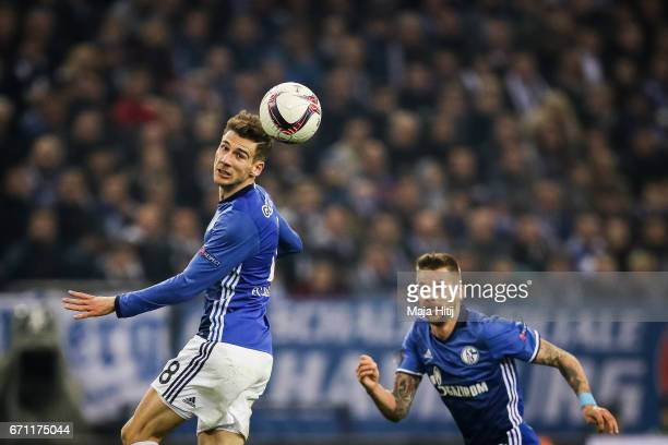 Leon Goretzka of Schalke controls the ball during the UEFA Europa League quarter final second leg match between FC Schalke 04 and Ajax Amsterdam at...