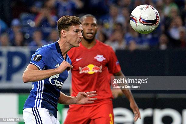 Leon Goretzka of Schalke heads the ball to score the opening goal during the UEFA Europa League match between FC Schalke 04 and FC Salzburg at...