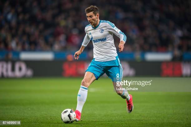 Leon Goretzka of Schalke in action during the Bundesliga match between Bayer 04 Leverkusen and FC Schalke 04 at BayArena on April 28 2017 in...