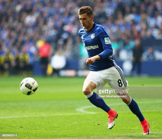 Leon Goretzka of Schalke in action during the Bundesliga match between FC Schalke 04 and Borussia Dortmund at VeltinsArena on April 1 2017 in...