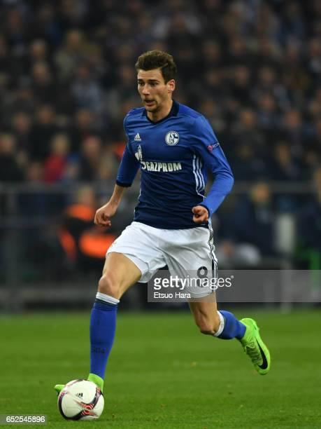 Leon Goretzka of Schalke in action during the UEFA Europa League Round of 16 first leg match between FC Schalke 04 and Borussia Moenchengladbach at...