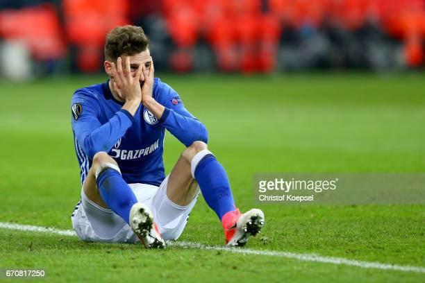 Leon Goretzka of Schalke lies on the pitch during the UEFA Europa League quarter final second leg match between FC Schalke 04 and Ajax Amsterdam at...