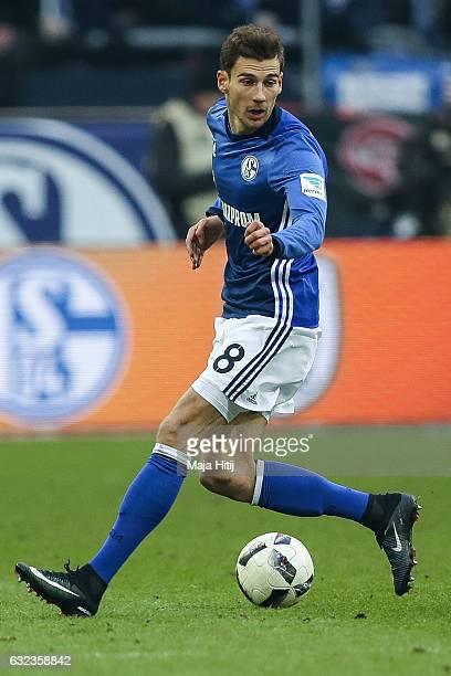 Leon Goretzka of Schalke plays the ball during the Bundesliga match between FC Schalke 04 and FC Ingolstadt 04 at VeltinsArena on January 21 2017 in...