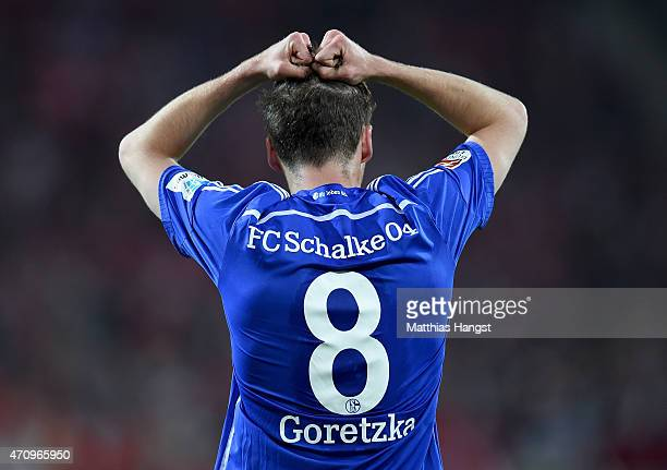 Leon Goretzka of Schalke reacts during the Bundesliga match between 1 FSV Mainz 05 and FC Schalke 04 at Coface Arena on April 24 2015 in Mainz Germany