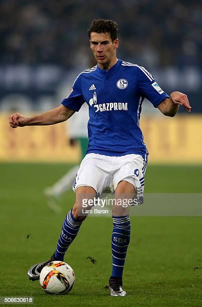 Leon Goretzka of Schalke runs with the ball during the Bundesliga match between FC Schalke 04 and Werder Bremen at VeltinsArena on January 24 2016 in...