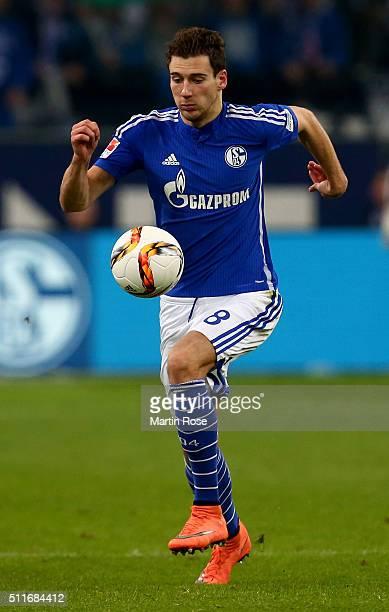 Leon Goretzka of Schalke runs with the ball during the Bundesliga match between FC Schalke 04 and VfB Stuttgart at VeltinsArena on February 21 2016...