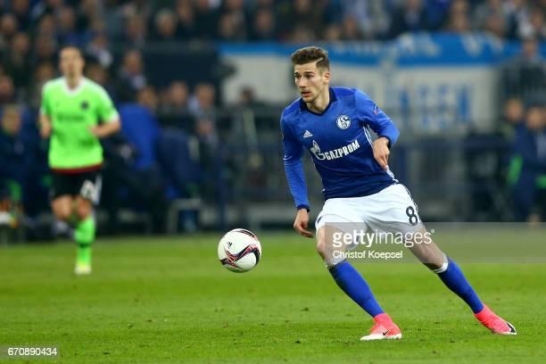 Leon Goretzka of Schalke runs with the ball during the UEFA Europa League quarter final second leg match between FC Schalke 04 and Ajax Amsterdam at...