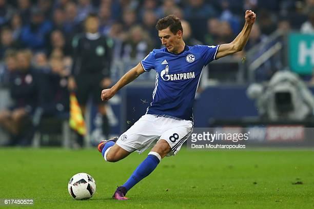 Leon Goretzka of Schalke shoots on goal during the Bundesliga match between FC Schalke 04 and 1 FSV Mainz 05 at VeltinsArena on October 23 2016 in...