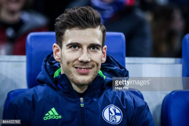 Leon Goretzka of Schalke sits on the bench prior the UEFA Europa League Round of 32 second leg match between FC Schalke 04 and PAOK Saloniki at...