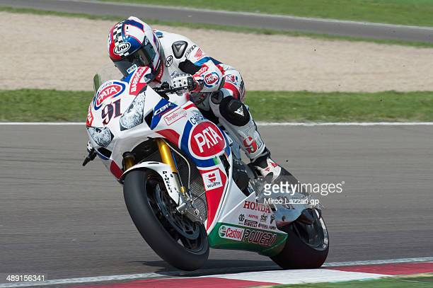 Leon Haslam of Great Britain and PATA Honda World Superbike heads down a straight during the World Superbikes Qualifying at Enzo Dino Ferrari Circuit...