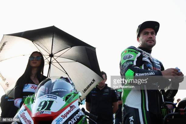 Leon Haslam of JG Speedfit Kawasaki team prepares to ride in the final race of the British Superbike Championship at Brands Hatch on October 15 2017...