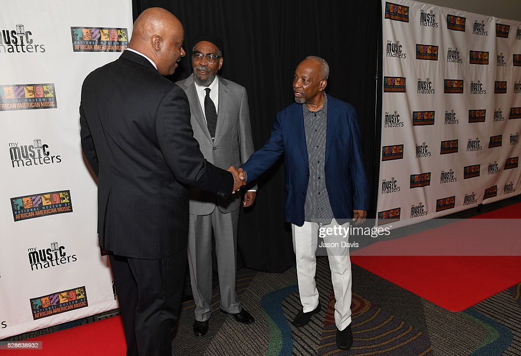 Leon Huff of Gamble and Huff, H. Beecher Hicks III , President & CEO at National Museum of African American Music and Kenneth Gamble of Gamble and Huff attend NMAAM's Celebration Of Legends Red Carpet And Luncheon on May 6, 2016 in Nashville, Tennessee.