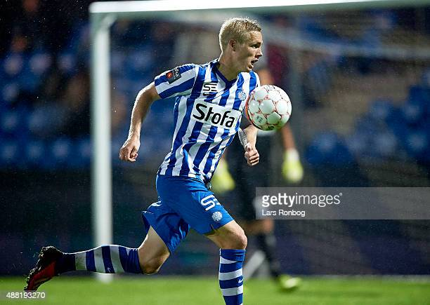 Leon Jessen of Esbjerg fB in action during the Danish Alka Superliga match between Esbjerg fB and OB Odense at Blue Water Arena on September 14 2015...