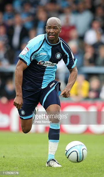 Leon Johnson of Wycombe Wanderers in action during the npower League Two League match between Wycombe Wanderers and Northampton Town at Adams Parks...