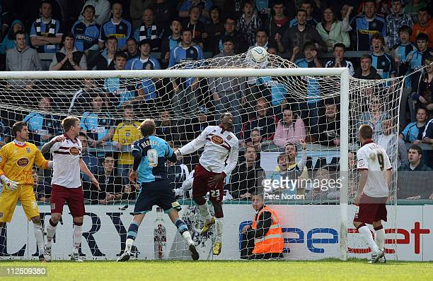 Leon Johnson of Wycombe Wanderers scores his sides second goal during the npower League Two League match between Wycombe Wanderers and Northampton...