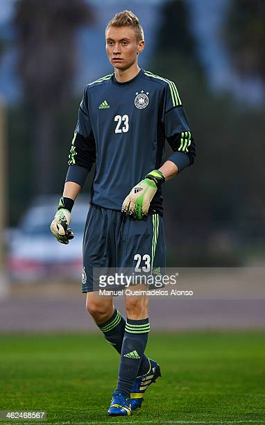 Leon Krapf of Germany looks on during the friendly match between U18 Valencia CF and U16 Germany at la Manga Club on January 13 2014 in La Manga Spain