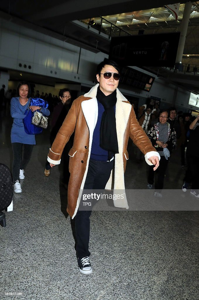 Leon Lai arrived at the airport on Sunday February 17, 2013 in Hong Kong, China.