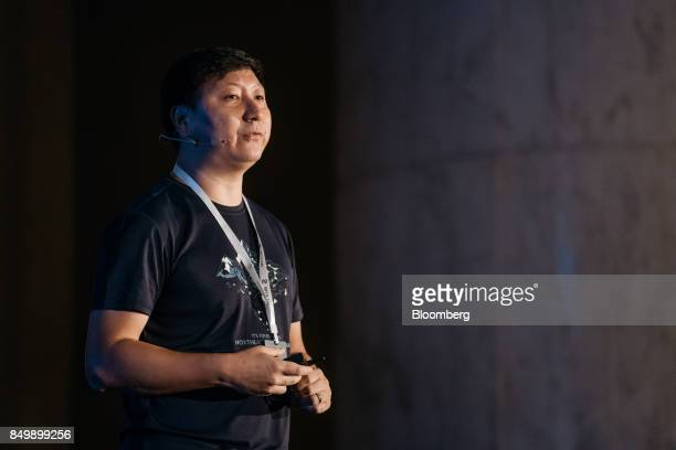 Leon Liu chief executive officer of BitKan speaks at the Shape the Future Blockchain Global Summit in Hong Kong China on Wednesday Sept 20 2017...