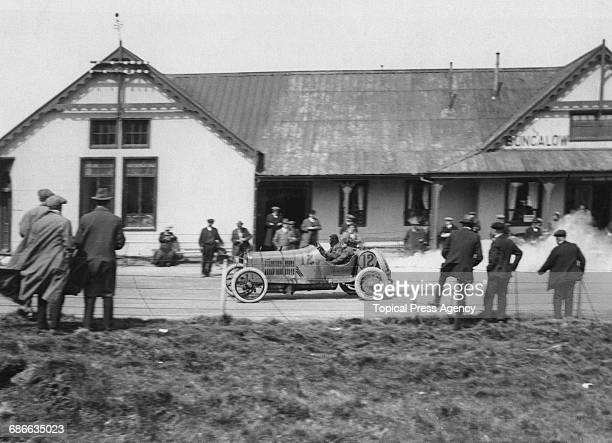 Leon Molon of France drives the Minerva during the Royal Automobile Club Isle of Man Tourist Trophy race on 11 June 1914 at Douglas Isle of Man...