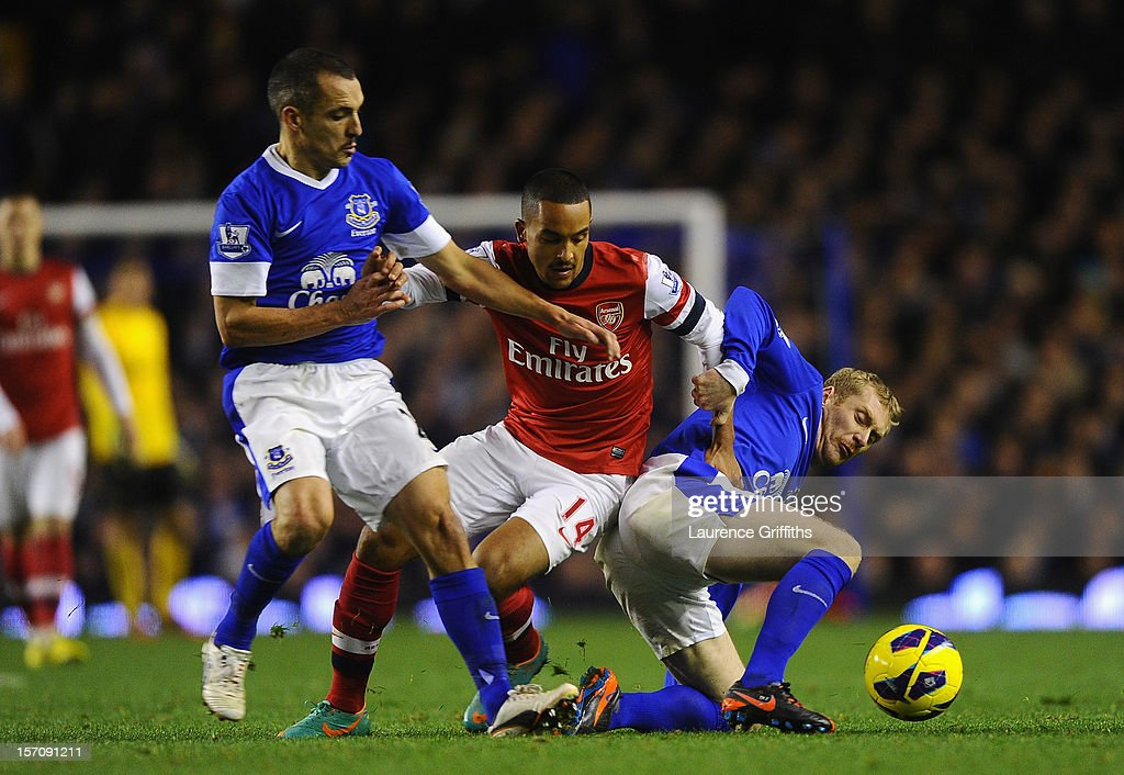 Leon Osman (L) and Tony Hibbert of Everton compete with Theo Walcott of Arsenal during the Barclays Premier League match between Everton and Arsenal at Goodison Park on November 28, 2012 in Liverpool, England.