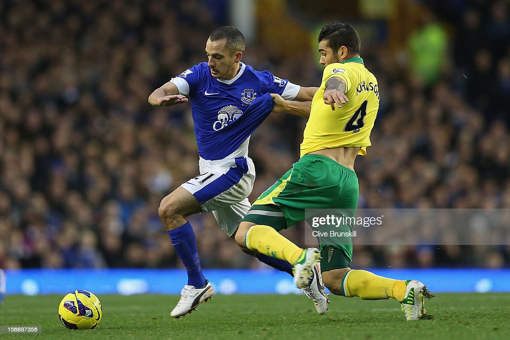 <a gi-track='captionPersonalityLinkClicked' href=/galleries/search?phrase=Leon+Osman&family=editorial&specificpeople=208939 ng-click='$event.stopPropagation()'>Leon Osman</a> of Everton holds off a challenge from Bradley Johnson of Norwich City during the Barclays Premier League match between Everton and Norwich City at Goodison Park on November 24, 2012 in Liverpool, England.