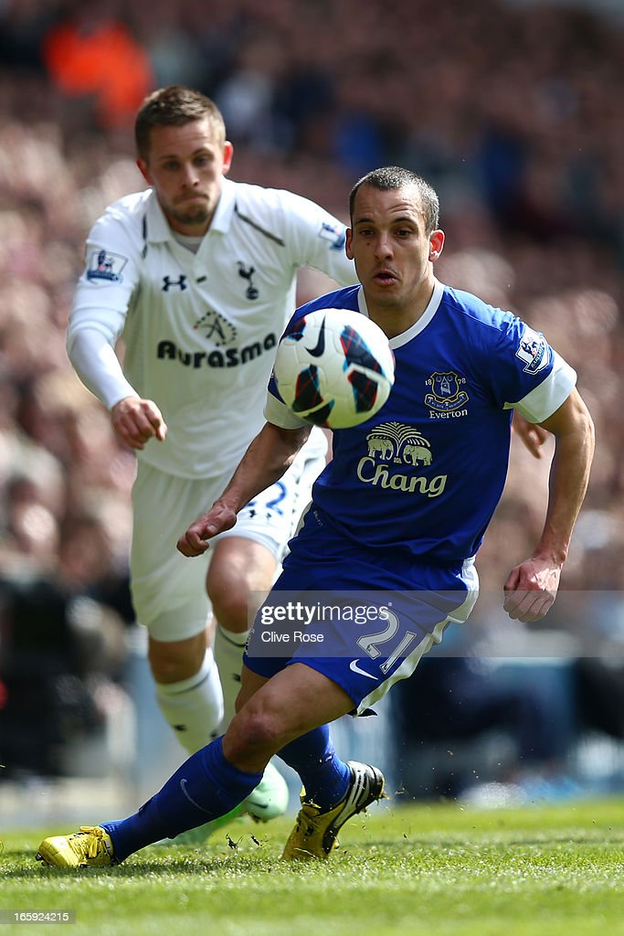 Leon Osman of Everton in action during the Barclays Premier League match between Tottenham Hotspur and Everton at White Hart Lane on April 7, 2013 in London, England.