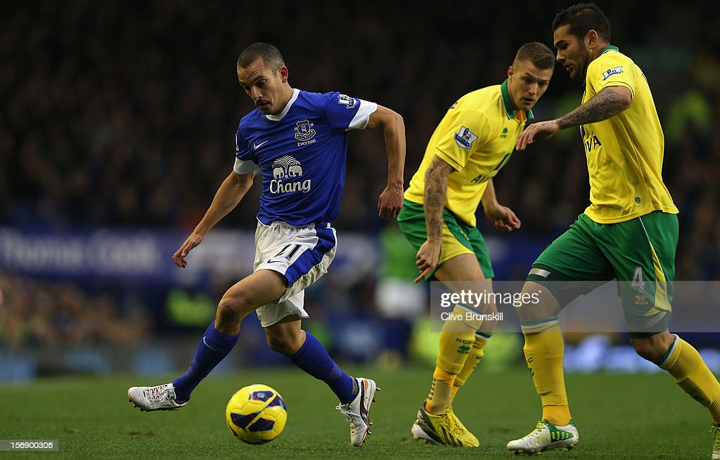 <a gi-track='captionPersonalityLinkClicked' href=/galleries/search?phrase=Leon+Osman&family=editorial&specificpeople=208939 ng-click='$event.stopPropagation()'>Leon Osman</a> of Everton moves away from Bradley Johnson of Norwich City during the Barclays Premier League match between Everton and Norwich City at Goodison Park on November 24, 2012 in Liverpool, England.