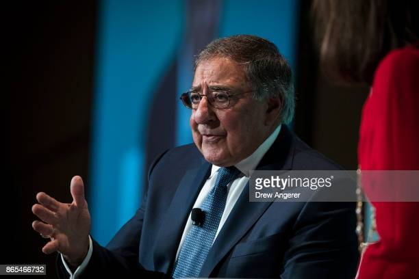 Leon Panetta former US Defense Secretary and former director of the Central Intelligence Agency speaks during a discussion on countering violent...